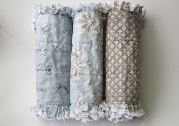 Baby Boy Burp Cloths Fleur De Lis Blue Gray Set of Three