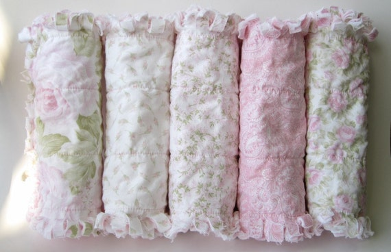 Baby Girl Burp Cloths Shabby Pink Cottage Rose Set of Five