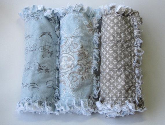 Baby Boy Burp Cloths Fleur De Lis Blue Gray Set of Three