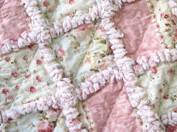 Shabby Baby Girl Quilt Cottage Chic Roses Rag Quilt