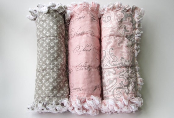 Baby Girl Burp Cloths Fleur De Lis Pink Gray Set of Three