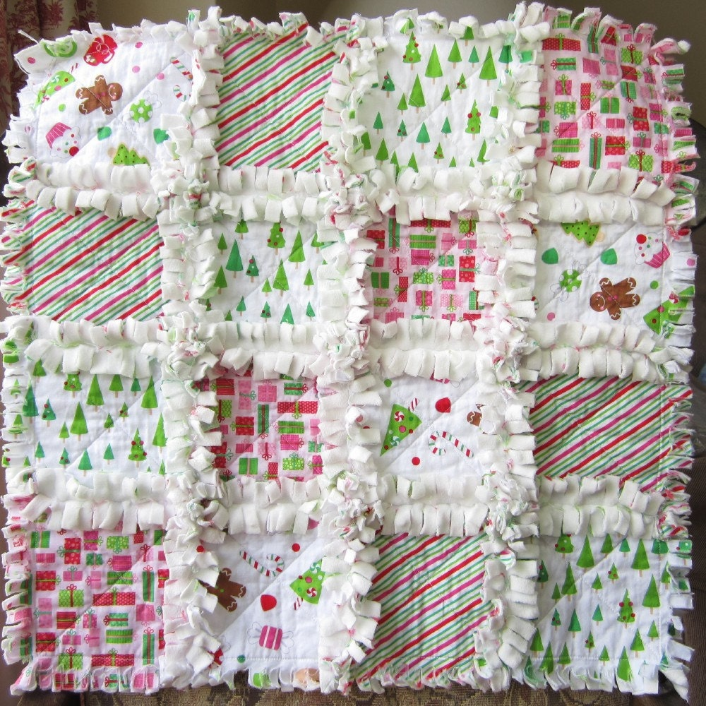 Christmas Security Blanket Minky Baby Quilt Mini Quilt : christmas rag quilt patterns - Adamdwight.com