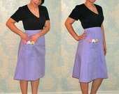1960s Lilac high waisted skirt with floral applique
