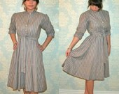 Petite Lanz 1950s dress in striped grey and blue with matching belt