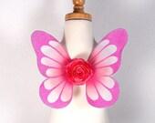 Fairy wings - Infant Baby Newborn Toddler - Pink and White - Handmade - Custom - Willow Design