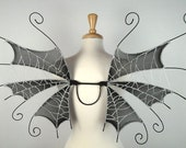 Fairy Wings - Ideal for dark fairy costume,Halloween costume, fairy photography - Goth Vampire Cobweb Spider Wings - Black Silver - Handmade