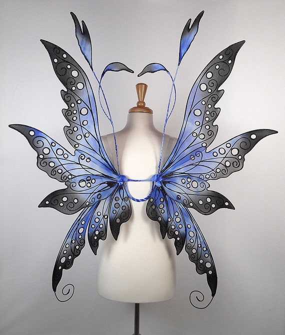 Fairy wings - Terrific for fairy costume, wedding, Halloween costume, fairy photography - Blue Black - Handmade - Custom - Collen Design