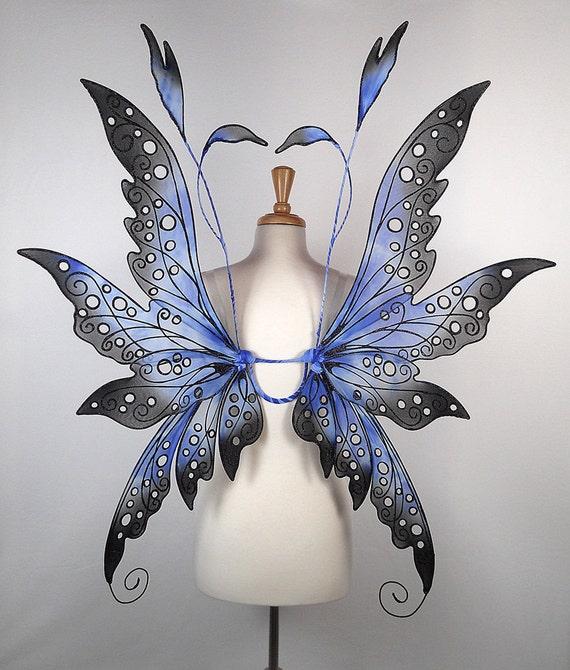 Fairy wings - Terrific for fairy costume, wedding, Halloween costume, fairy photography - Blue Black - Handmade - Custom - Collen Design
