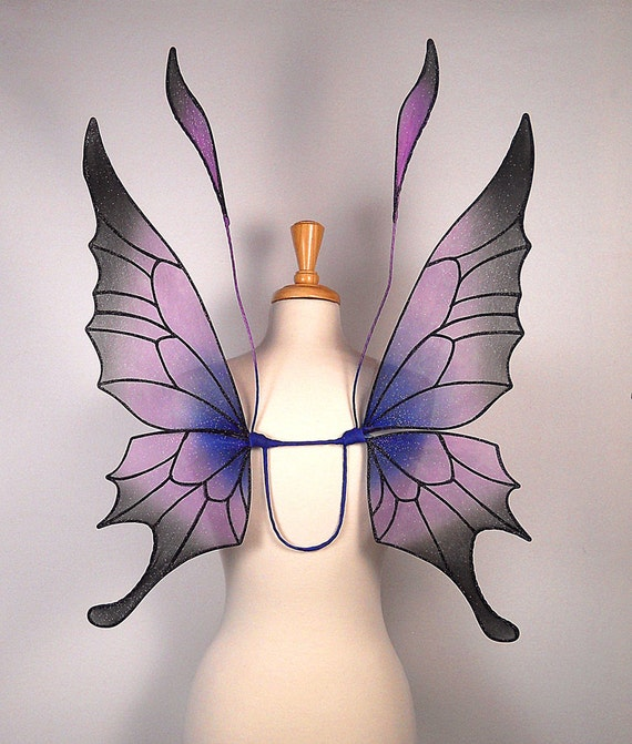 EXCLUSIVE LISTING FOR Pwinches - Ideal for wedding, fairy costume, fairy photography - Purple fairy wings - Crystal design
