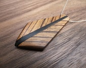 Zebrawood and Ebony Necklace with Silver Chain