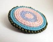 MANDALA BEAD CIRCLE Pin Brooch in turquoise, pink, aqua and olive green beading