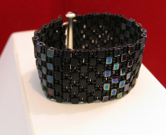 GOTHIC BLACK Wide beaded CUFF bracelet