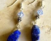 Lapis Lazuli & Swarovski Crystal Earrings