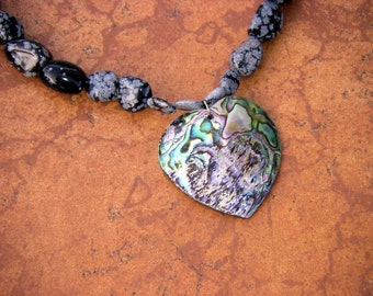 Snow Obsidian Necklace with Abalone Heart Handmade