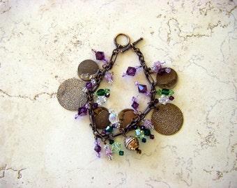 Vintage Brass & Swarovski Crystal Charm Bracelet