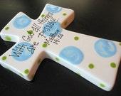 Children's Hand Painted Ceramic Cross - Great Baptism, Christening or Shower Gift