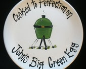 "EXTRA LARGE 15"" Personalized BBQ Plate - - Hand Painted Ceramic Grill Plate - Great Father's Day Gift"