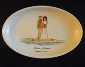 "Hand Painted 13"" Oval Ceramic Wedding Platter"