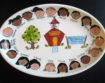 Teacher Gift - Handpainted 16 Inch Oval Teacher Platter - Personalized - Great Gift