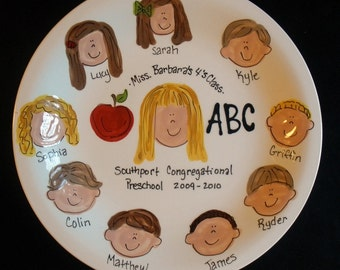Personalized Teacher Gift - Handpainted 10 Inch Teachers Platter- Personalized - Great Gift