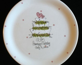 Personalized Wedding Plate - Wedding Cake - Hand Painted Ceramic Wedding Plate