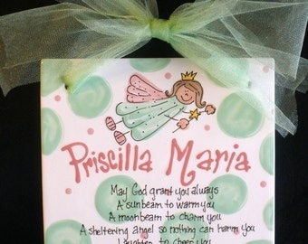 Ceramic Hand Painted Birth Announcement - Baptism - Child's Birthday Tile 8x8 with Ribbon