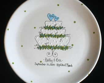 Personalized Wedding Plate - Hand Painted Ceramic Wedding Plate