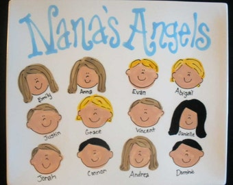 Handpainted Platter for Grandparents - Nana's Angels or Grandma's Angels - great gift