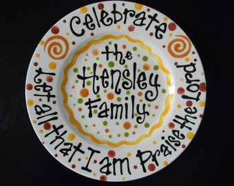 "10"" Ceramic Personalized Family Celebration Plate with Bible verse"