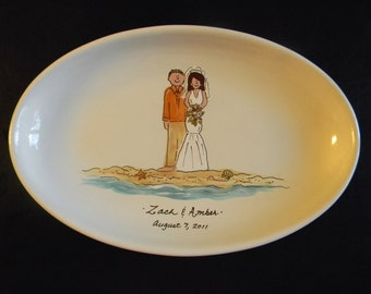 "Hand Painted 16"" Oval Ceramic Wedding Platter - great gift for beach or destination wedding"