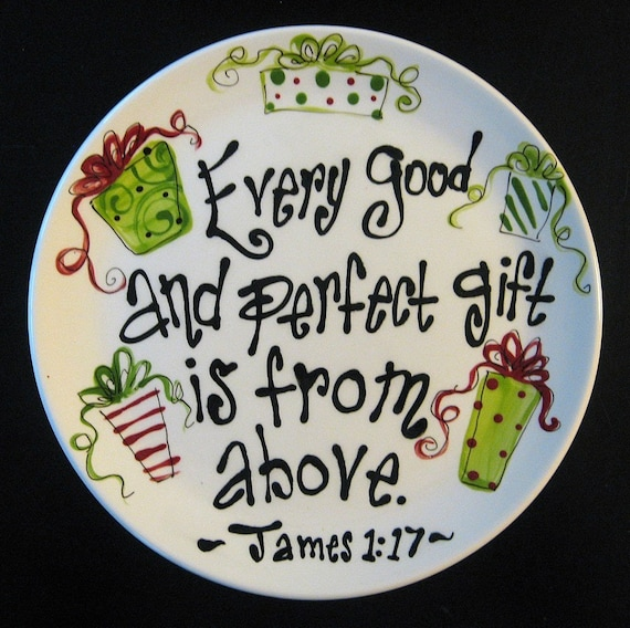 Hand Painted Ceramic Christmas Plate Every Good And Perfect