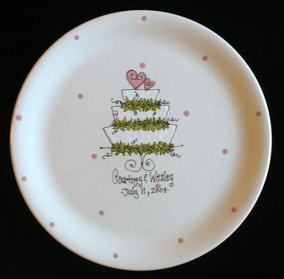 Personalized Wedding Plate - Wedding Cake - Hand Painted Ceramic Wedding Plate