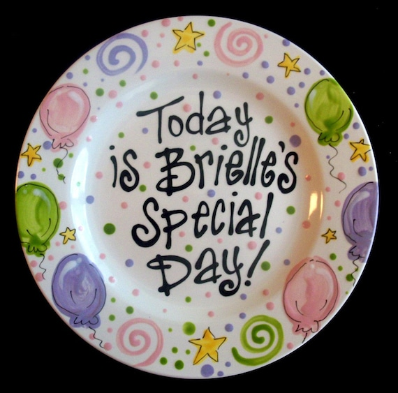 Hand Painted Pastel Birthday or Special Day Plate