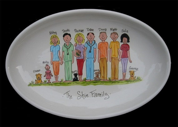 Personalized Family Platter - Handpainted 13 Inch Oval Family Platter - Personalized - Great Gift