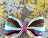 Colorful striped ribbon hair clip/barette with hot pink ribbon center