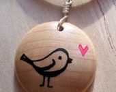 Bird Necklace, Bird Jewelry, Wood Necklace, TweetHeart Maple Wood Pendant Jewelry