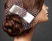 French netting bow with crystal brooch hair clip