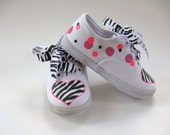 Zebra Shoes, Zoo Theme Birthday Party Sneakers, Animal Print Outfit, Hand Painted for Baby or Toddlers