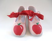 Apple Shoes, Girl's Pink Canvas T Strap, Hand Pained for Baby or Toddler, Back To School