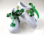 Girls Shamrock Shoes, Kids Sneakers, St Patricks Irish Clovers, Baby and Toddler, Hand Painted