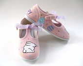 Easter Rabbit Shoes, Girl's Bunny T Straps, Hand Painted for Baby and Toddler