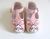 Girl's Bunny Rabbit Shoes, Easter Pink T Straps, Hand Painted for Baby or Toddler