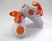 Girls Pumpkin Shoes, Kid's  Hand Painted Thanksgiving Sneakers, Baby and Toddler, Fall Harvest