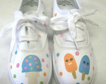Ice Cream Party Shoes, Birthday Party White Canvas Sneakers Hand Painted for Baby and Toddler