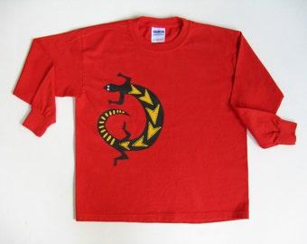 Lizard TShirt, Reptile Lover, Lizard Shirt, Southwestern Shirt, Size Small, Winter Shirt, Long Sleeve, Red Tee or Top, Hand Painted