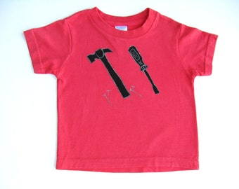 Tool T Shirt, Birthday Party, Carpenter or Mechanic Shirt, Hand Painted Tee or Top, Baby and Toddler, Hammer and Screwdriver