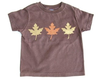 Autumn Leaf T Shirt, Gold and Copper Leaves, Fall Shirts, Thanksgiving Shirt, Tee or Top, Metallic Leaves, Hand Painted for Baby and Toddler