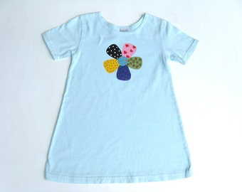 Girls  Daisy Flower Dress, Hand Dyed Blue and Hand Painted Cotton A Line Style for Toddlers