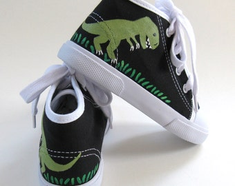 Dinosaur Sneakers, T Rex Black Hi Top Shoes, Boys or Girls, Hand Painted for Toddlers