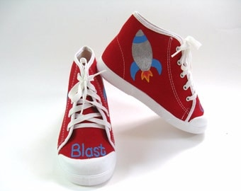 Spaceship Shoes, Rocket Ship Red Hi Top Sneakers,  Space Ship Birthday Party Outfit, Hand Painted for Baby and Toddler